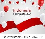 red white balloons  confetti... | Shutterstock .eps vector #1125636332