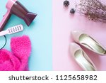 beauty concept with hair dryer...   Shutterstock . vector #1125658982
