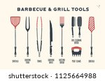 barbecue  grill set. poster bbq ... | Shutterstock .eps vector #1125664988