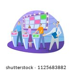 quiz show tv studio with host... | Shutterstock .eps vector #1125683882