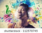 black girl listening to the... | Shutterstock . vector #112570745