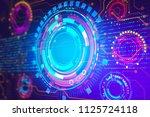 digital blockchain interface... | Shutterstock . vector #1125724118