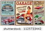 set of vintage car metal signs... | Shutterstock .eps vector #1125733442