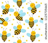 bee seamles pattern. cute... | Shutterstock .eps vector #1125735665