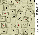 seamless pattern with envelopes ... | Shutterstock .eps vector #1125741698