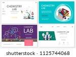 flat chemistry laboratory... | Shutterstock .eps vector #1125744068