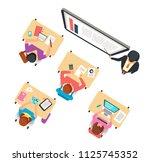 classroom top view. children... | Shutterstock .eps vector #1125745352