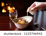 close up of pouring custard... | Shutterstock . vector #1125746942