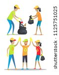 woman and man happily working ... | Shutterstock .eps vector #1125751025