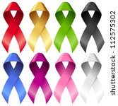 Vector Breast Ribbons Set. Red...