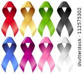 vector breast ribbons set. red  ... | Shutterstock .eps vector #112575302