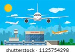 aircraft above the ground.... | Shutterstock . vector #1125754298