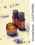 aromatherapy oil and lavender | Shutterstock . vector #1125760085