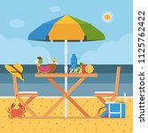 summer coast picnic table with...   Shutterstock .eps vector #1125762422