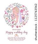 wedding invitation. beautiful... | Shutterstock .eps vector #1125763562