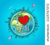travel around the earth. i love ...   Shutterstock .eps vector #1125767372