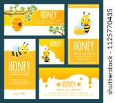 honey labels. banners or cards... | Shutterstock .eps vector #1125770435