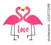 cute pink flamingo in love...   Shutterstock . vector #1125772298
