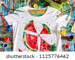 drawing on clothes.  | Shutterstock . vector #1125776462