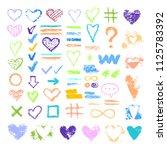 set of chalk vector textures.... | Shutterstock .eps vector #1125783392