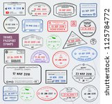 Set of international travel passport stamps.