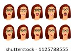 woman with glasses facial... | Shutterstock .eps vector #1125788555