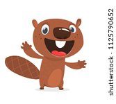 Excited Cartoon Beaver Laughin...