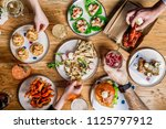flat lay bar meals with... | Shutterstock . vector #1125797912