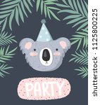 vector cute poster with festive ... | Shutterstock .eps vector #1125800225