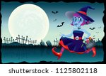 a running cute witch  holding a ... | Shutterstock .eps vector #1125802118