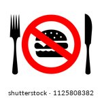 no eating sign  diet concept... | Shutterstock .eps vector #1125808382