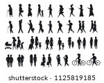silhouettes set of people... | Shutterstock .eps vector #1125819185