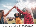 group of friends drinking and... | Shutterstock . vector #1125830465