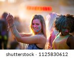multiethnic girls covered in... | Shutterstock . vector #1125830612