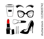 vector fashion sketch set. hand ... | Shutterstock .eps vector #1125835742