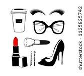 vector fashion sketch set. hand ... | Shutterstock .eps vector #1125835742
