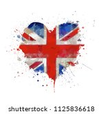 watercolor painted vector heart ... | Shutterstock .eps vector #1125836618