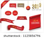 scroll red  merry christmas and ... | Shutterstock .eps vector #1125856796