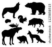 wild animals. silhouette | Shutterstock . vector #1125858515