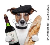 Stock photo french dog wine baguette beret 112586528