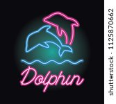 dolphin logo with neon sign... | Shutterstock .eps vector #1125870662