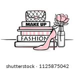 vector fashion illustration.... | Shutterstock .eps vector #1125875042