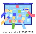 scrum board concept with human... | Shutterstock .eps vector #1125882392