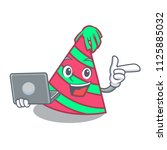 with laptop party hat character ... | Shutterstock .eps vector #1125885032
