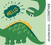 funny green dinosaur looking... | Shutterstock .eps vector #1125887468