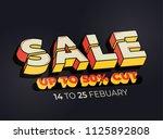 three dimensional sale banner... | Shutterstock .eps vector #1125892808