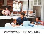 father helps children with... | Shutterstock . vector #1125901382