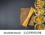 various pasta in bag with space ... | Shutterstock . vector #1125905198