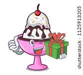 with gift ice cream sundae... | Shutterstock .eps vector #1125913205