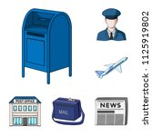 mail and postman cartoon icons... | Shutterstock .eps vector #1125919802